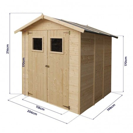 Medidas caseta de madera para jardín 2x2 m G01MA0007