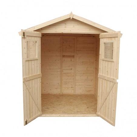 Interior cobertizo de madera para jardín.