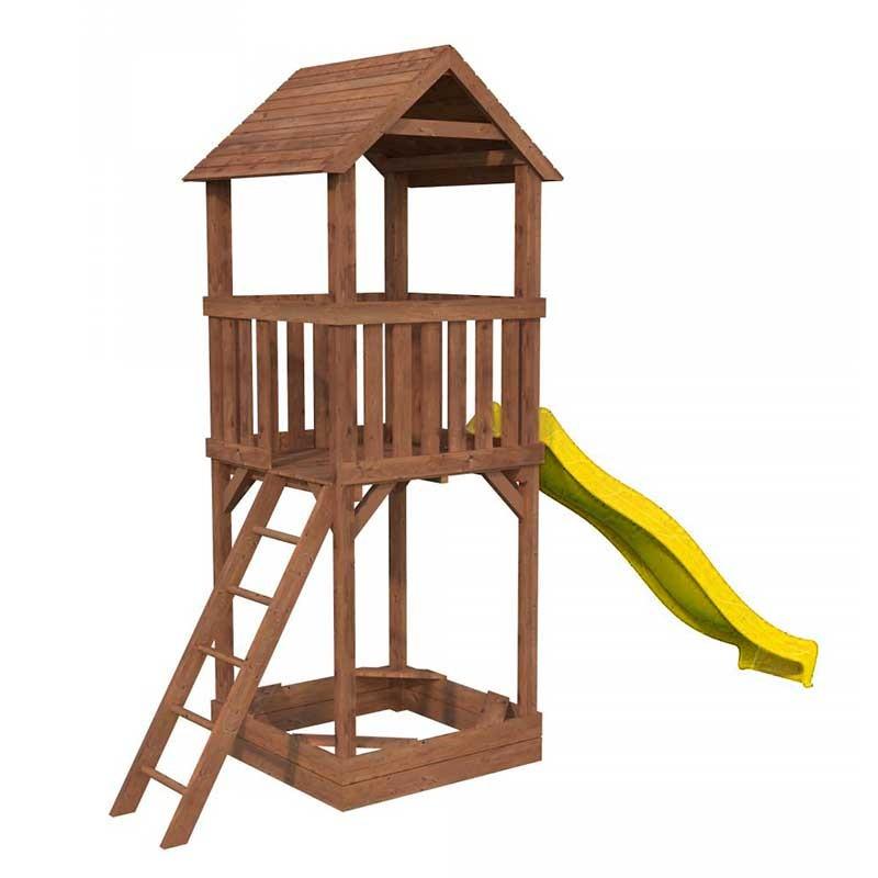 Parque infantil Jesper con tobogán amarillo