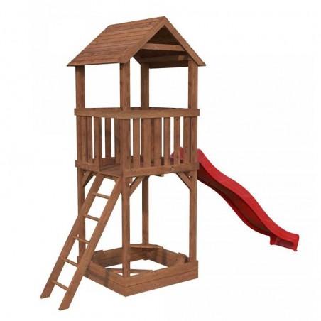 Parque infantil Jesper con tobogán rojo