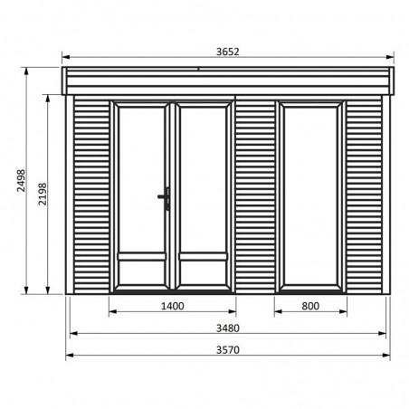 Medidas Minicasa de madera 9.81m²