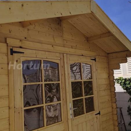 puerta caseta de madera 3x3m