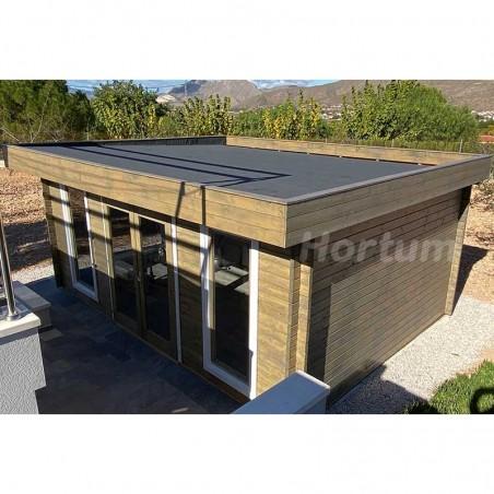 Caseta de madera techo plano Bret, 44 mm, 550x410 cm 19,9 m²