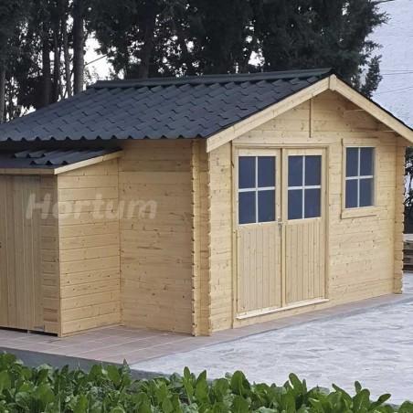 Caseta 4x3 de madera con teja de color negro
