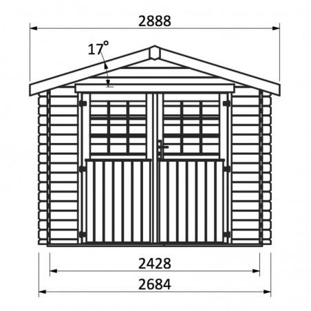 Caseta de madera Maura, medidas frontales.