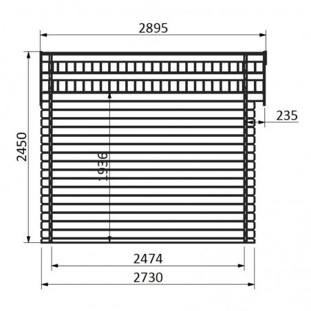Medidas caseta de madera Kirk 8.88m² - Hortum.es