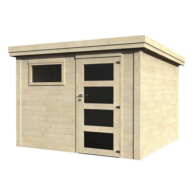 Caseta de madera Paco con techo plano. 28 mm, 275 x 275 cm. 7.54 m²