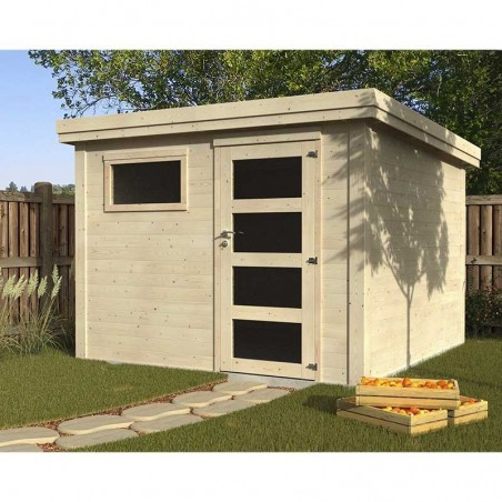Caseta de jardín con techo plano una ventana y puerta individual.