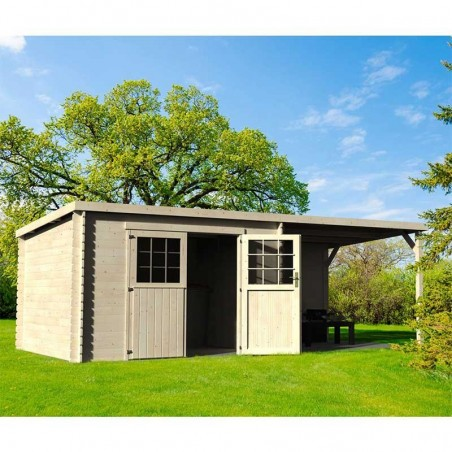 Caseta de madera techo plano Eden. 28 mm, 605 x 300 cm, 18 m²