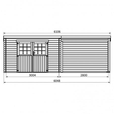 Medidas caseta de madera Eden. 28 mm, 605 x 300 cm, 18 m²