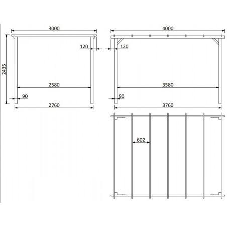 Dimensiones pérgola de madera 30175-T00