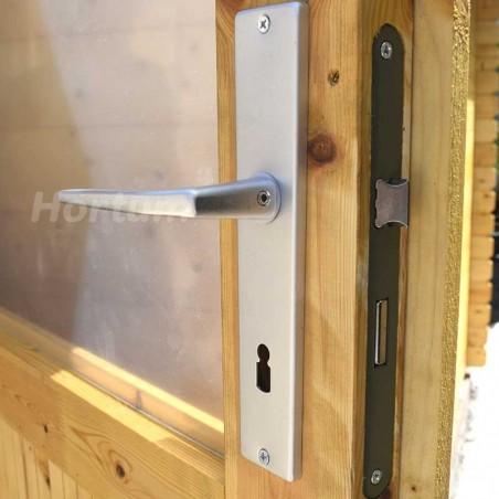 Caseta de madera para jardín Manil - Detalles cerradura con llave