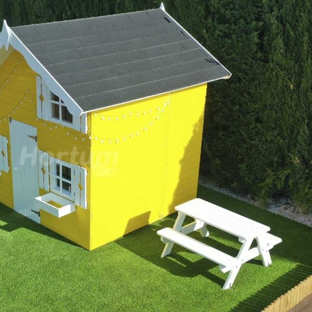 Mesita picnic infantil en color blanco 90 x 89 x 50 cm