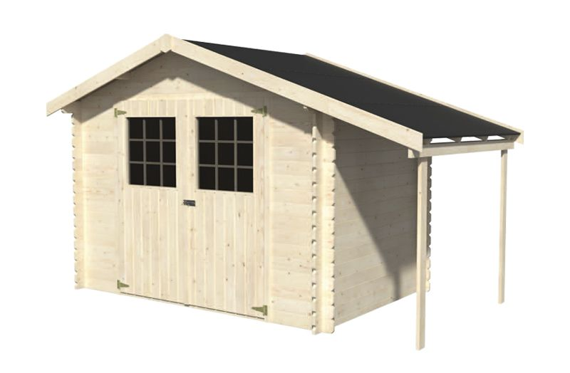Porche lateral y caseta Perla. 28 mm, 370 x 198 cm, 7,32 m²