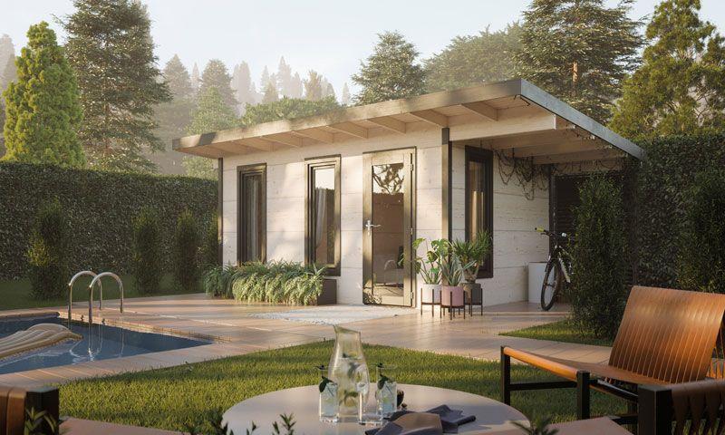 Casa de madera Grace 56mm, 445+137x300 cm