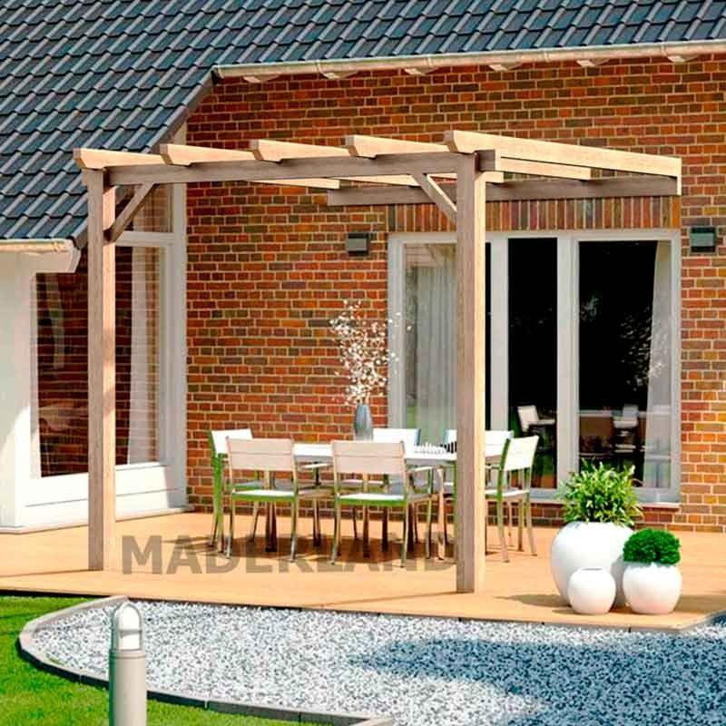 Pérgola de madera para terraza. Pérgola adosada en terraza