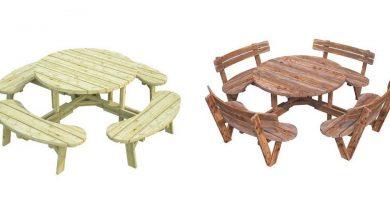 Mesas redondas de madera para jardín exterior