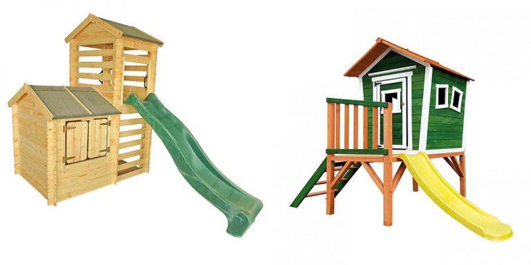 Casitas infantiles de madera con tobogán