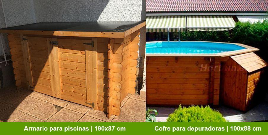 Armarios de madera para piscina Hortum