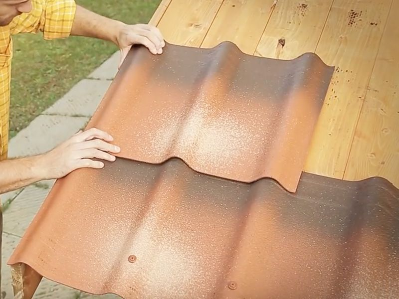 Segunda fila de tejas para casetas de madera