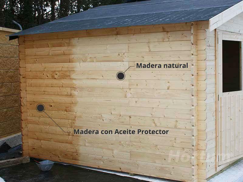 Aplicación aceite protector madera caseta jardín