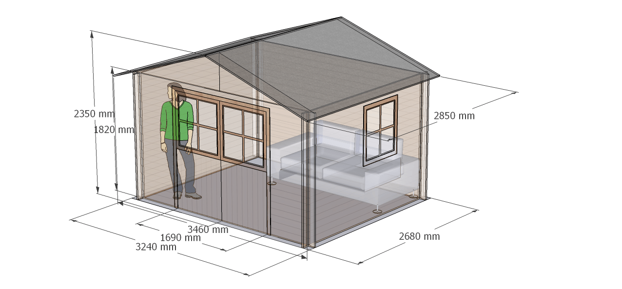 caseta de madera hortum, modelo Flodavil