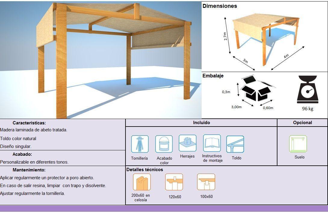 Ficha técnica pergola de madera