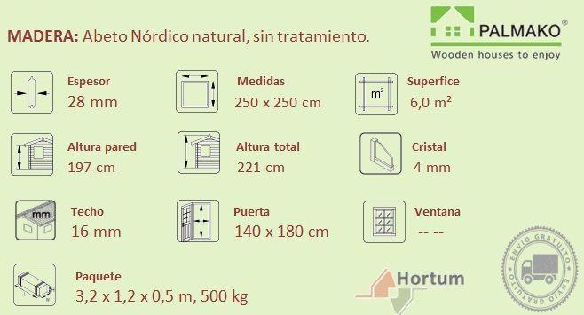 Detalles técnicos cabaña de madera Lara 6.25 m²