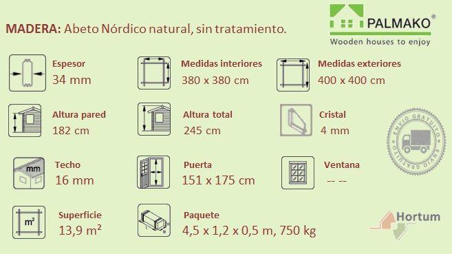 caseta de madera modelo Lotta 4 x 4