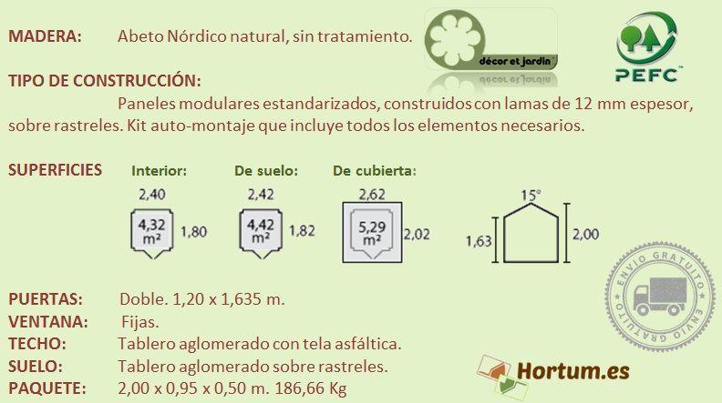 Detalles técnicos caseta madera Lodum