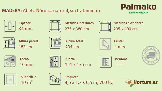 Caseta de madera Lotta 10 m²