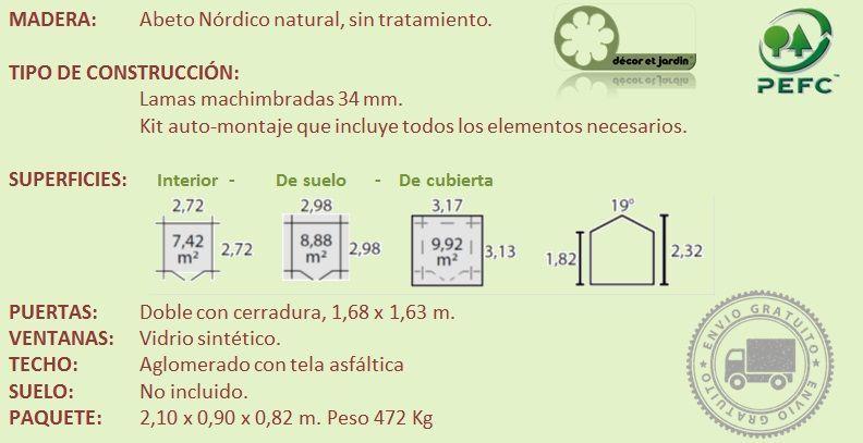 Ficha técnica caseta madera valodeal o Barine