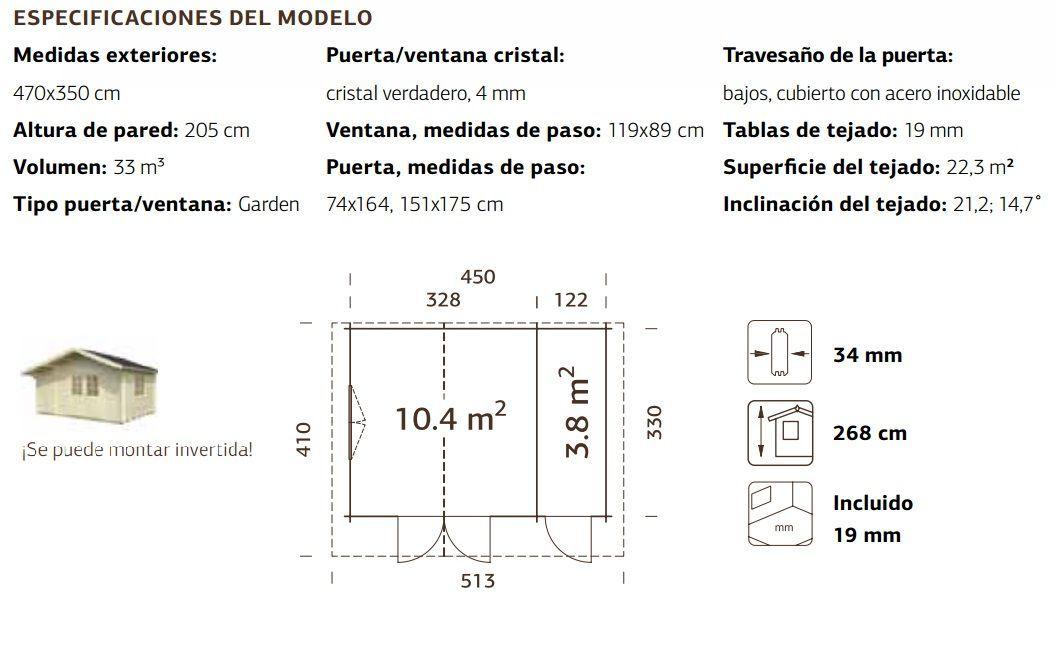 Ficha técnica para caseta Emma 14.2 m²