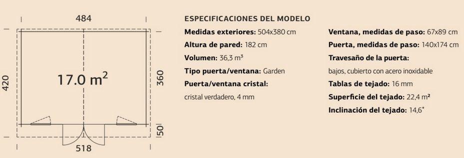 Ficha casita de madera 17 m²