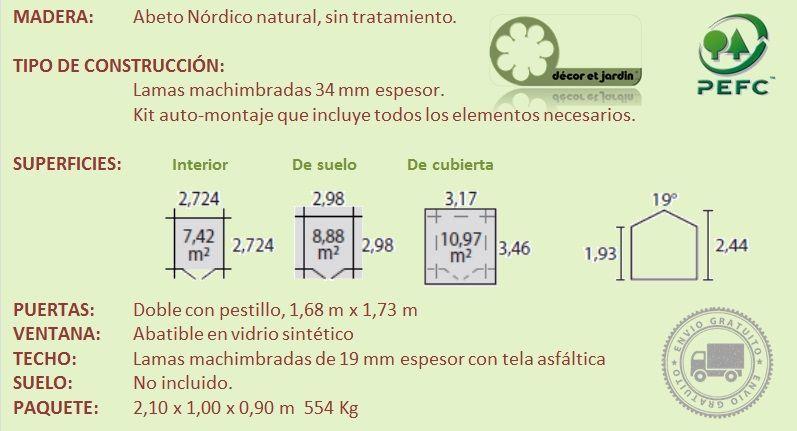Ficha técnica para caseta de madera Salinas 34 mm hortum