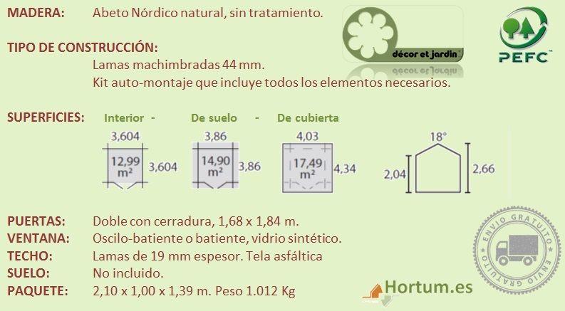 Ficha tecnica caseta de madera Fordiger