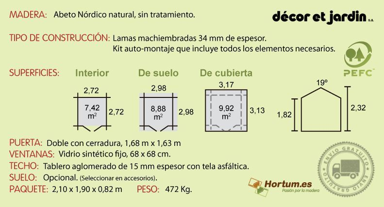 Ficha técnica caseta de madera Barine