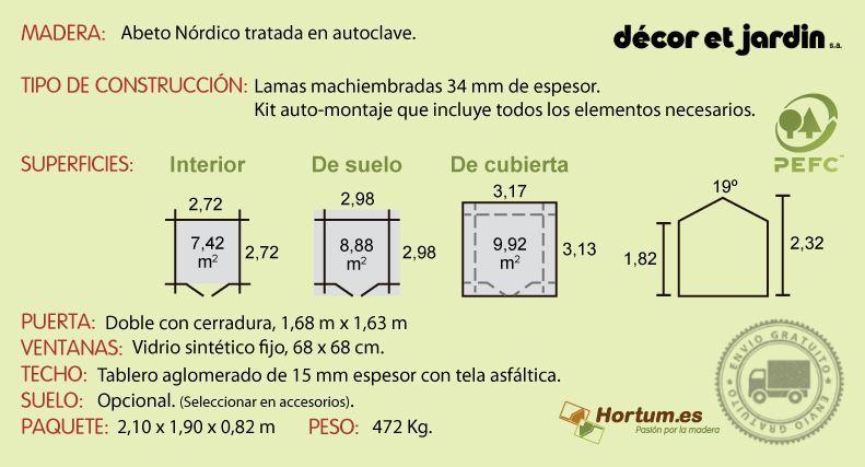 Ficha técnica caseta de madera Barine Tratada