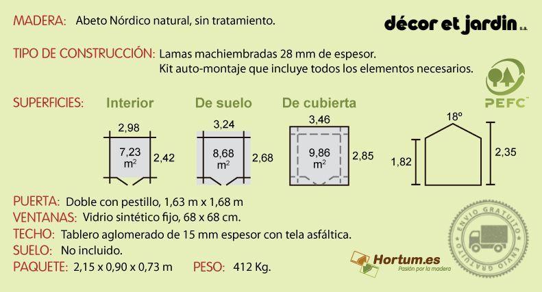 Ficha técnica caseta de madera Flodavil