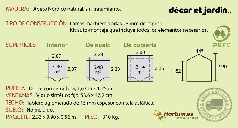 Ficha técnica caseta de madera Mistral