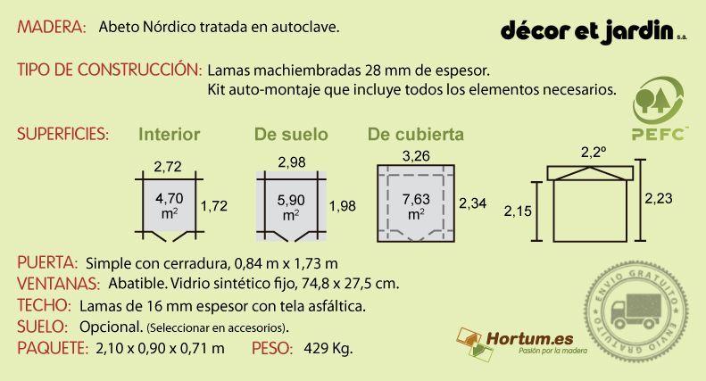 Ficha técnica caseta de madera Plosireal
