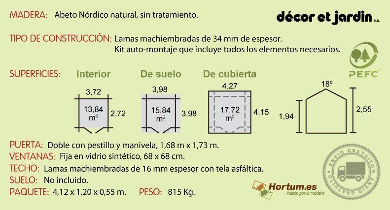 Ficha técnica caseta de madera Valfor