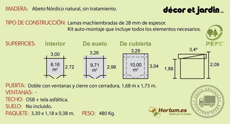 Ficha técnica caseta de madera Elan