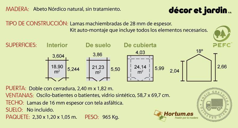 Ficha técnica garaje madera Pomona