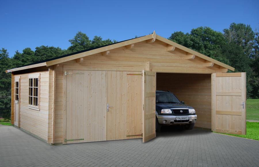 garaje de madera doble