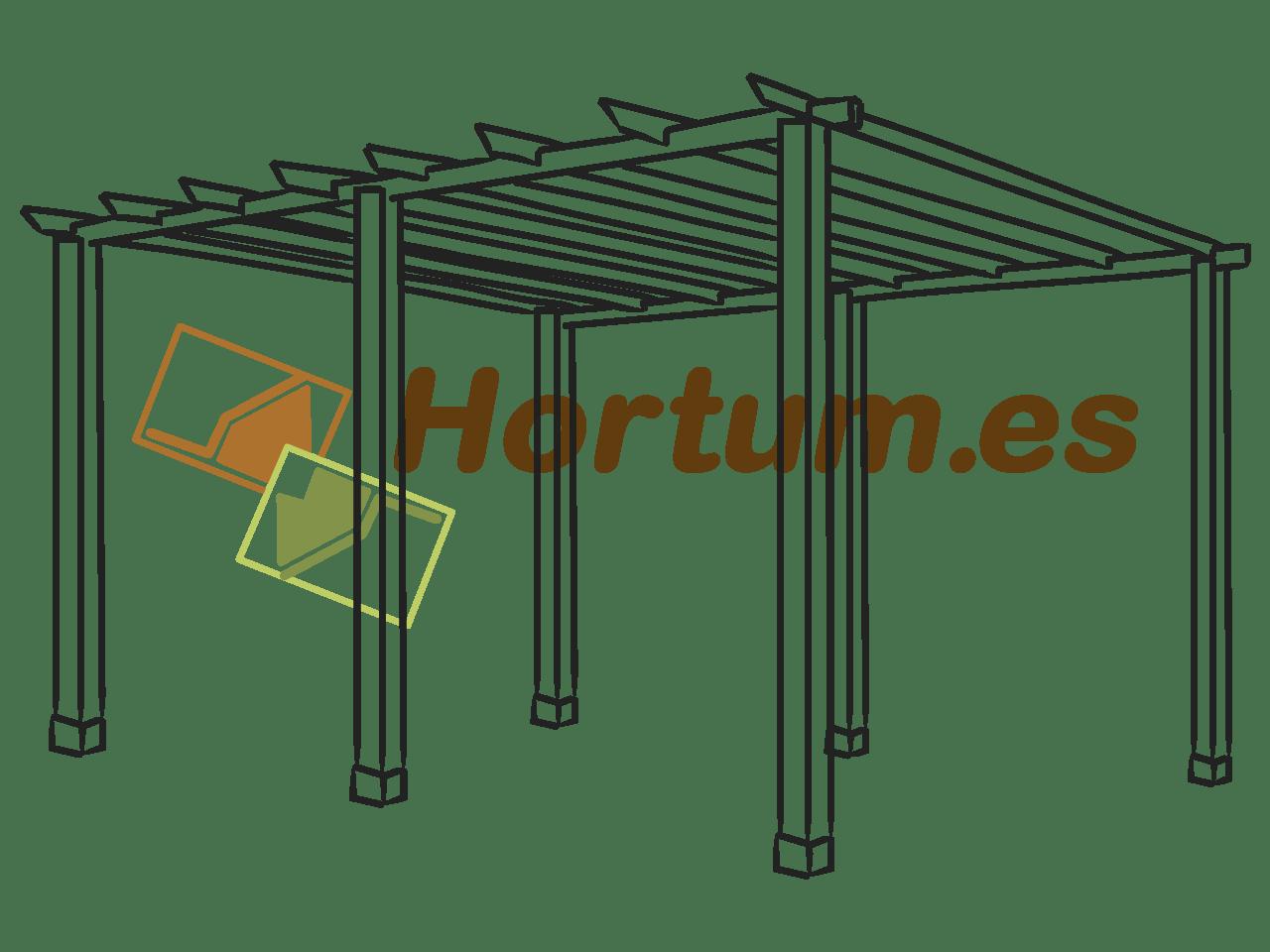Pérgola de madera con 6 postes Hortum