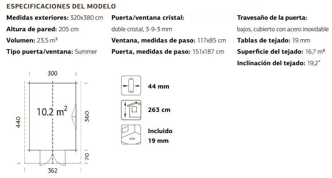 Medidas y especificaciones caseta madera Sally 10.2
