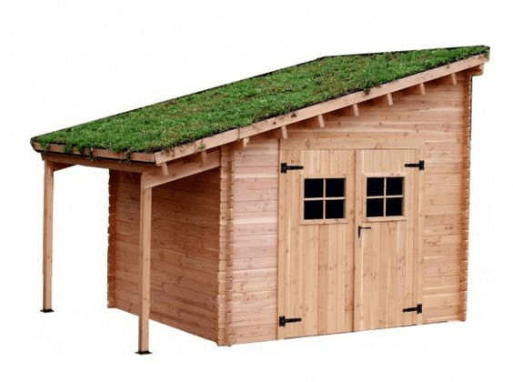 Caseta de madera techo vegetal inclinado